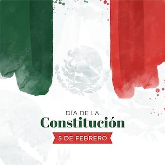 Bandeira em aquarela do dia da constituição do méxico
