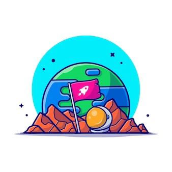 Bandeira em pé no planeta com ilustração de ícone dos desenhos animados de capacete de astronauta.