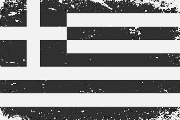 Bandeira em preto e branco com estilo grunge grécia