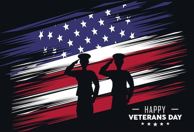 Bandeira eua e veteranos