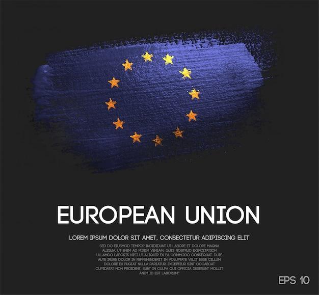 Bandeira europeia feita de pincel glitter sparkle