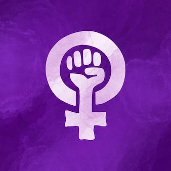 Bandeira feminista em aquarela