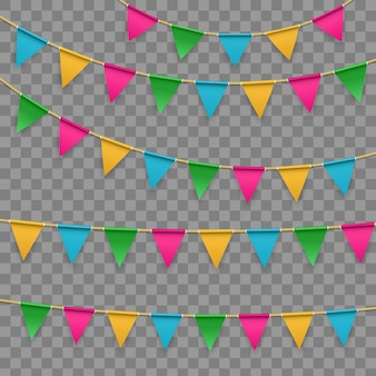 Bandeira, festão de buntings em fundo transparente.