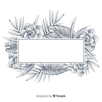 Bandeira floral desenhada de mão realista