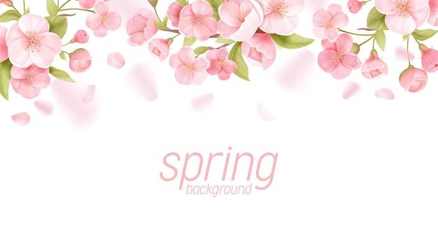 Bandeira floral realista de flores de sakura. design de cartão de vetor de flor de cerejeira. fundo de ilustração de flores de primavera, modelo de pôster exótico, voucher, folheto, panfleto