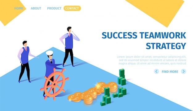 Bandeira horizontal da estratégia do trabalho em equipe do sucesso.