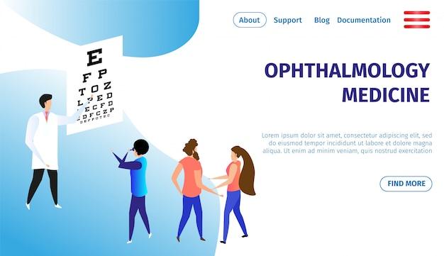 Bandeira horizontal de medicina oftalmologia. cuidados com os olhos