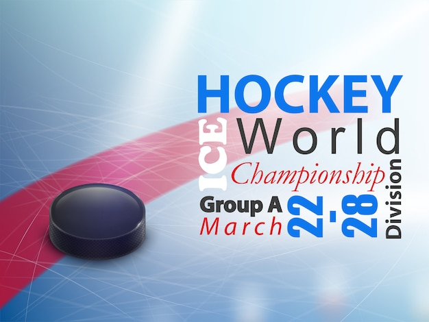 Bandeira horizontal do campeonato mundial do hóquei em gelo. jogo de equipe de inverno no rinque de patinação com preto