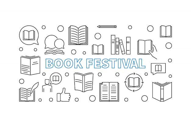 Bandeira horizontal do conceito do festival do livro feita com ícones de livros de contorno