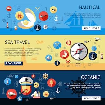Bandeira horizontal náutica colorida e isolada de três conjunto com descrições oceânicas de viagens marítimas vector a ilustração