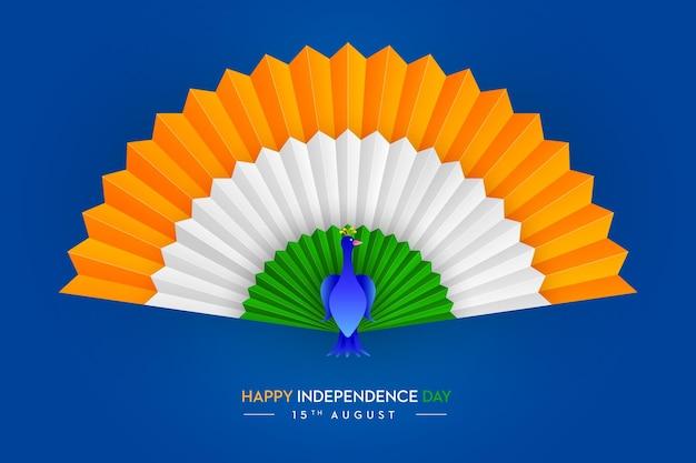 Bandeira indiana corte de papel pavão feliz dia da independência, 15 de agosto