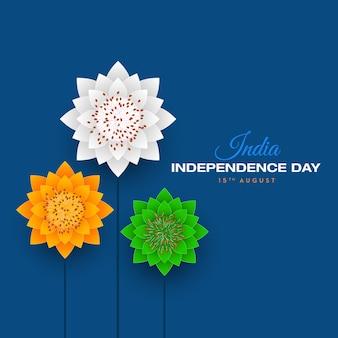 Bandeira indiana feliz dia da independência, 15 de agosto, flores de papel