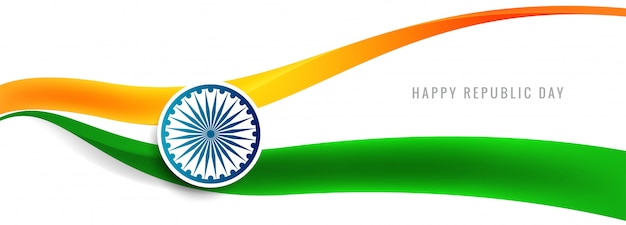 Bandeira indiana linda onda banner vector