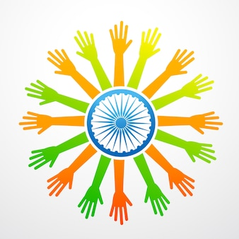 Bandeira indígena do vetor feita de mãos
