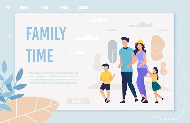 Bandeira informativa inscrição tempo para a família, plana.