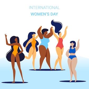 Bandeira internacional do dia das mulheres, positivo do corpo