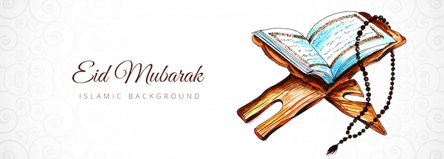 Bandeira islâmica bonita eid mubarak