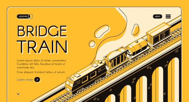 Bandeira isométrica da web do transporte industrial de frete de trilho. locomotiva puxando trem de carga