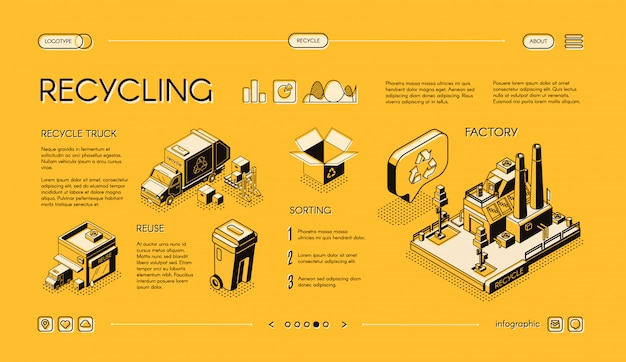Bandeira isométrica da web do vetor da reciclagem de resíduos, corrediça do infographics da apresentação.