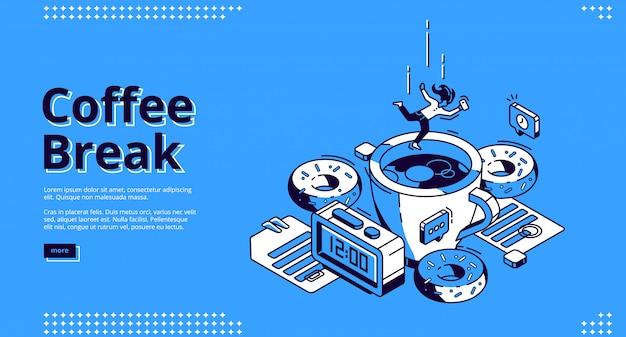 Bandeira isométrica de coffee-break, café da manhã