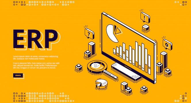 Bandeira isométrica de planejamento de recursos empresariais de erp