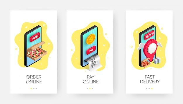 Bandeira isométrica de serviço de entrega de comida móvel definida com pizza 3d em caixa, ponteiro de mapa na tela do smartphone. pedido, pagamento on-line, conceito de envio. ilustração para web, anúncio, aplicativo, mídia social