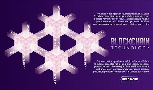 Bandeira isométrica de tecnologia blockchain