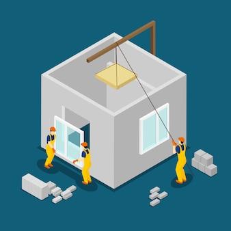 Bandeira isométrica de trabalhadores da construção civil