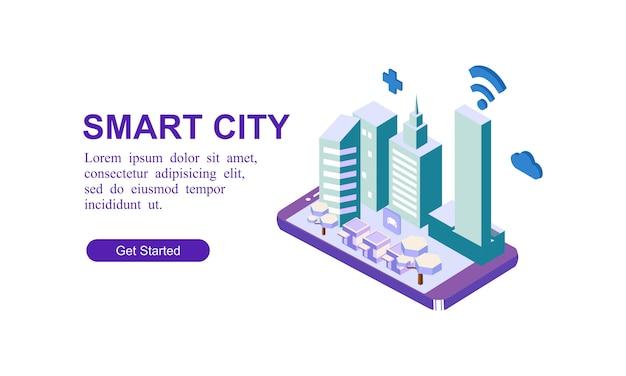 Bandeira isométrica moderna da cidade inteligente