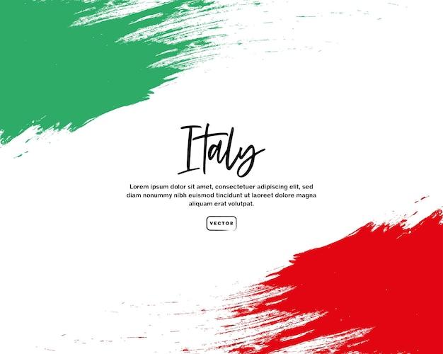 Bandeira italiana com texto e efeito de pincelada
