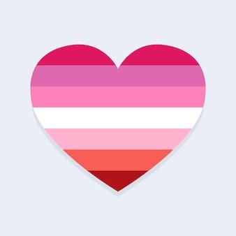 Bandeira lésbica em formato de coração