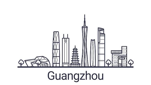 Bandeira linear da cidade de guangzhou desenhada à mão