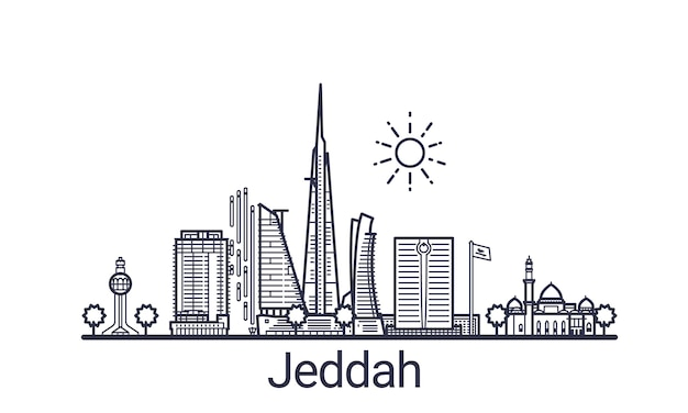 Bandeira linear da cidade de jeddah. todos os edifícios