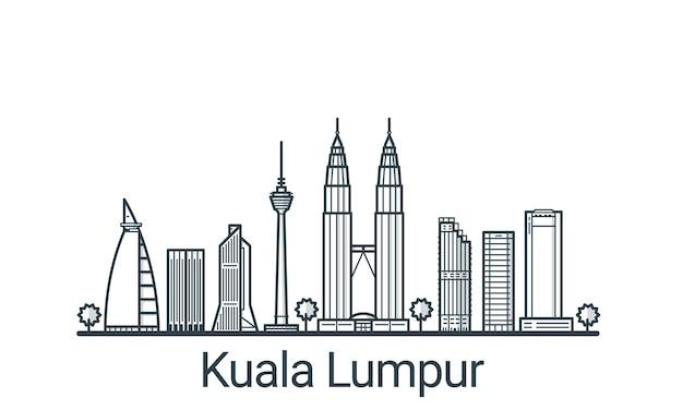 Bandeira linear da cidade de kuala lumpu. todos os edifícios
