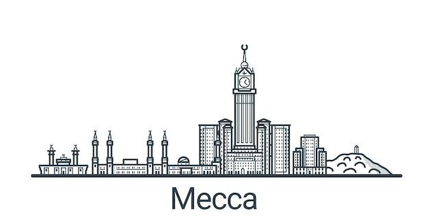 Bandeira linear da cidade de meca. todos os edifícios