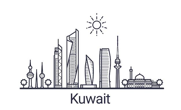 Bandeira linear da cidade do kuwait. arte de todos os edifícios do kuwait.