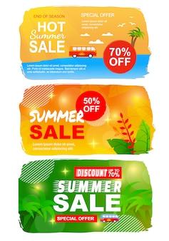 Bandeira lisa das vendas do verão ajustada com melhores ofertas sazonais.
