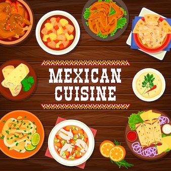 Bandeira mexicana de pratos de frutos do mar e carnes
