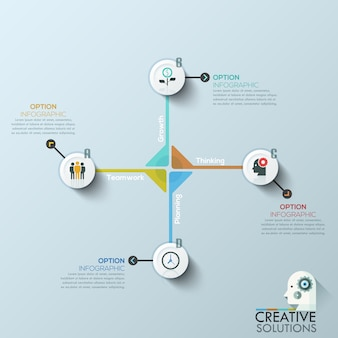Bandeira moderna das opções do estilo do origâmi do círculo de negócio.