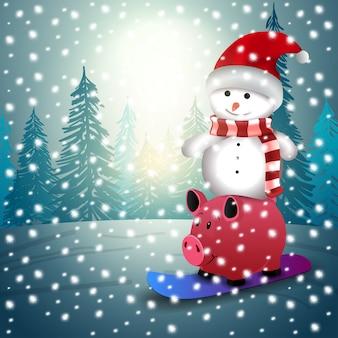 Bandeira moderna de natal. boneco de neve com presentes
