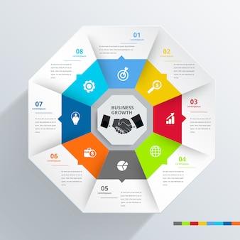 Bandeira moderna do elemento do projeto de infographic do hexágono.