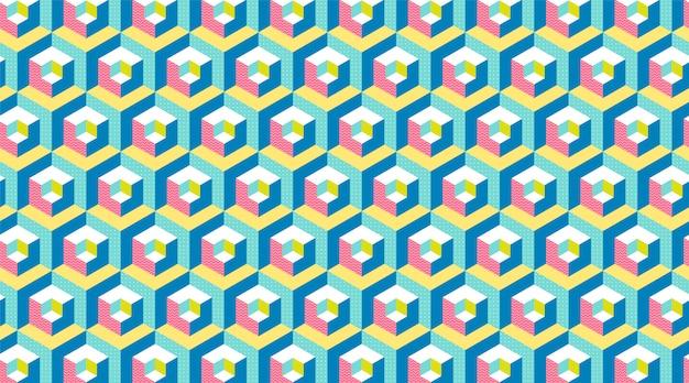 Bandeira moderna do hexágono 3d.