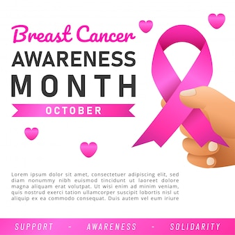 Bandeira mundial do câncer de mama. banner da web. fita rosa de conscientização do câncer de mama.