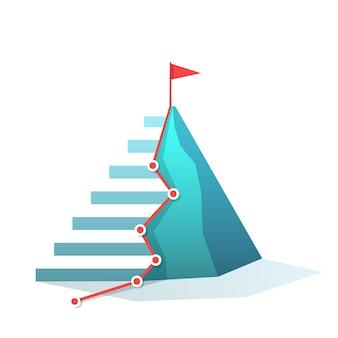 Bandeira na realização do objetivo pico de montanha