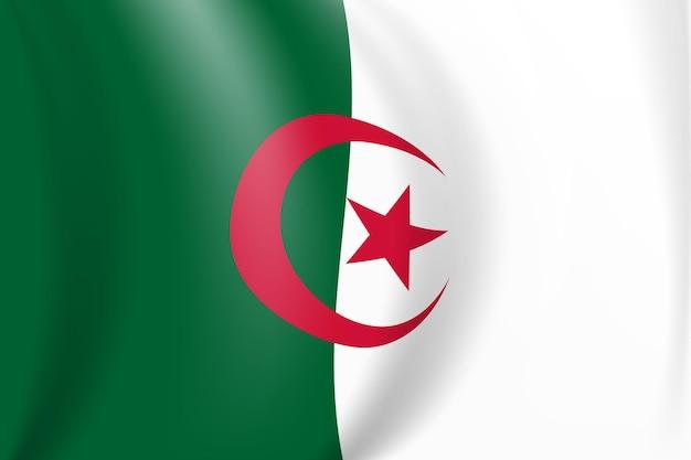 Bandeira nacional branca e vermelha da república democrática do povo da argélia. bandeira ondulante. ilustração vetorial. eps10