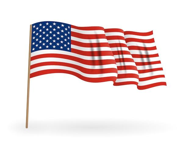 Bandeira nacional da américa. bandeira dos eua acenando no mastro da bandeira. ilustração vetorial. eps10