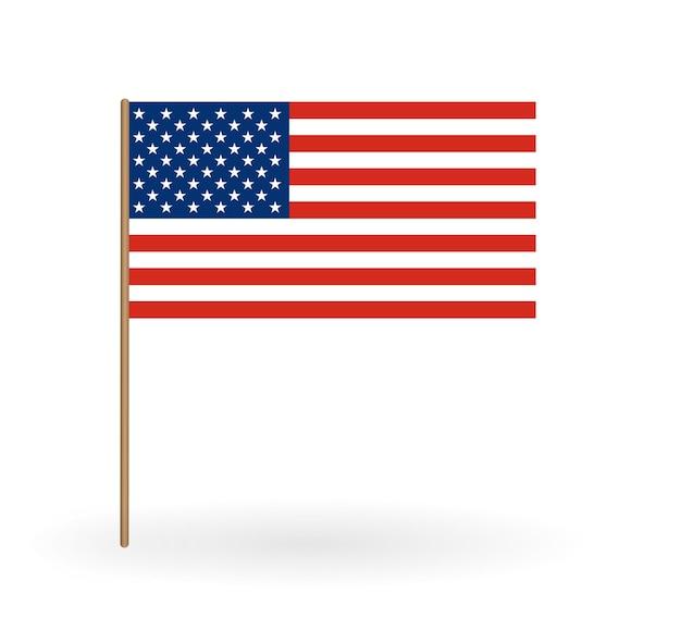 Bandeira nacional da américa. bandeira dos eua no mastro da bandeira. ilustração vetorial. eps10