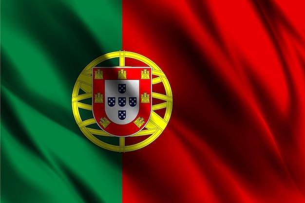 Bandeira nacional de portugal acenando fundo de seda