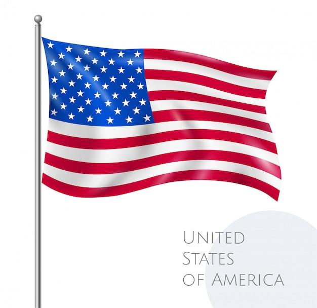 Bandeira nacional do eua voando com estrelas e listras realistas