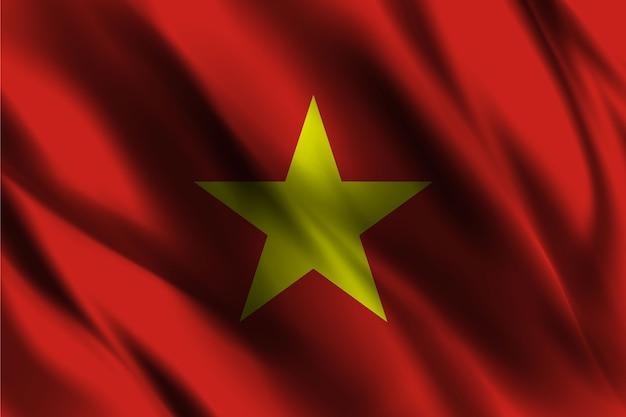 Bandeira nacional do vietnã acenando com fundo de seda